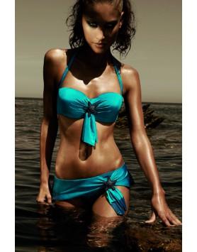 Nicole Olivier Safran бирюзовый раздельный купальник бандо